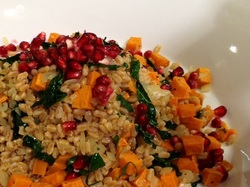 Farro, Kale and Sweet Potato Salad with Pomegranate Seeds