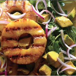 Grilled Pineapple, Upland Cress, & Avocado Salad